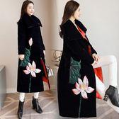 羽絨外套 棉衣女中長版冬季新品新款復古民族風氣質外套寬鬆過膝刺繡棉襖子【交換禮物】