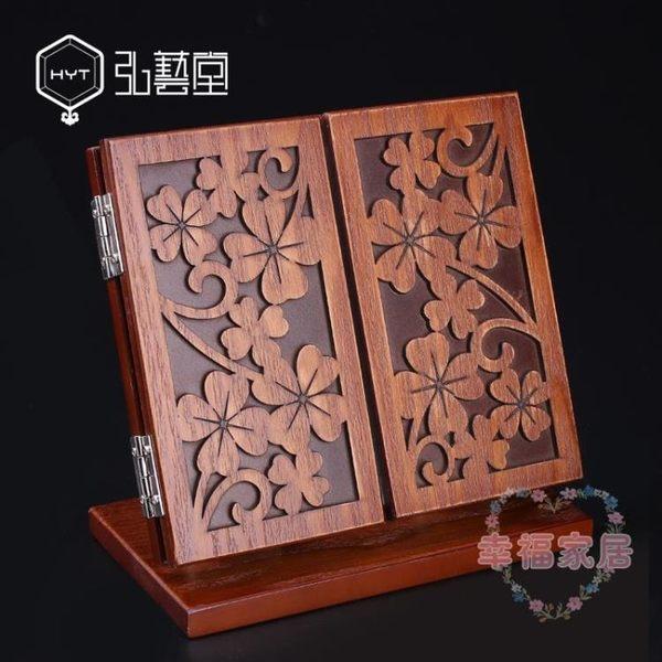 歐式木質復古化妝鏡台式折疊便攜鏡子大號雙面三面梳妝鏡子 快速出貨