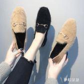 毛毛鞋 粗跟毛毛鞋女新款韓版百搭平底一腳蹬豆豆鞋 ZQ2065『夢幻家居』