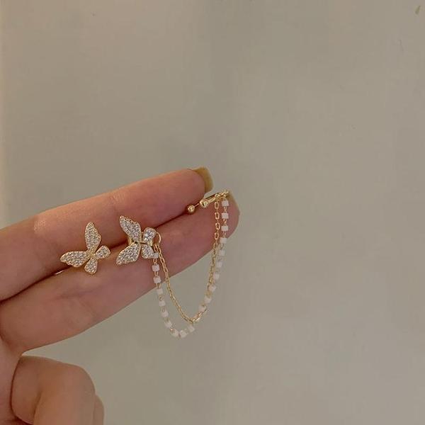 蝴蝶耳釘女氣質韓國個性耳夾耳環一體式超仙流蘇耳飾2021年新款 伊蘿
