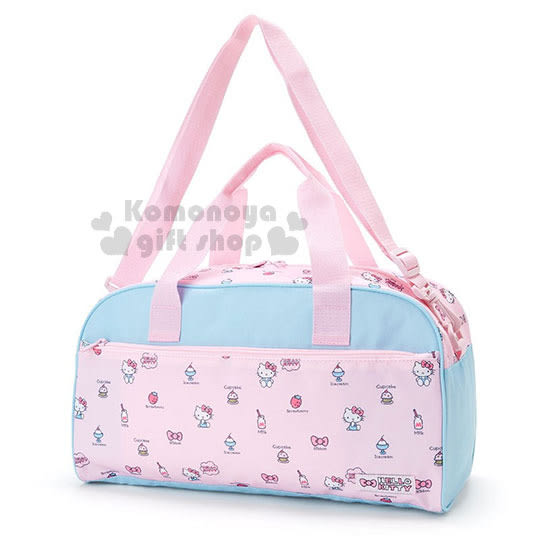 〔小禮堂〕Hello Kitty 2way手提肩背旅行袋《粉藍.側坐.牛奶.蛋糕》 4901610-81731