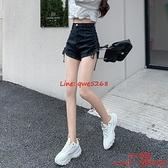 黑色高腰牛仔褲短褲薄款顯瘦闊腿a字辣妹超短熱褲【CH伊諾】
