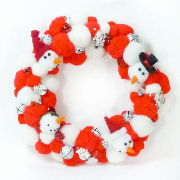 絨毛球聖誕花圈(紅白雙色系)(本島免運費)