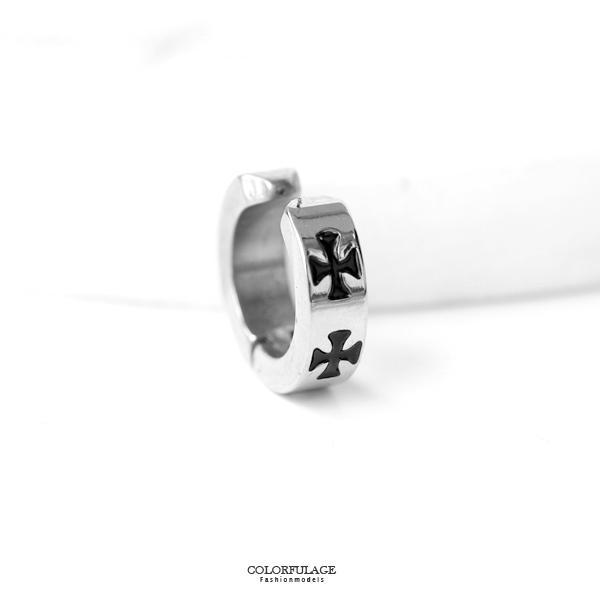 夾式耳環 個性黑十字架鋼製耳夾ND660