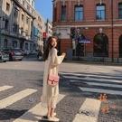 針織連身裙女打底休閒長裙氣質顯瘦長袖裙子【橘社小鎮】
