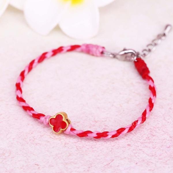 紅色糖果花-小花黃金手鍊-絲質蠟線編織手鍊