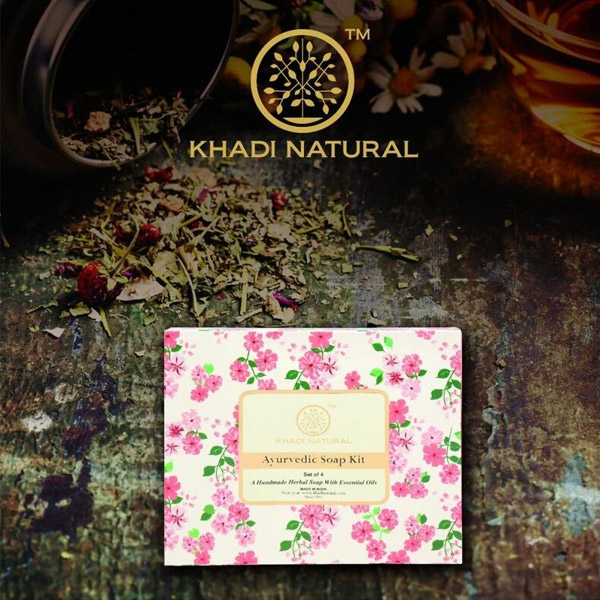印度 Khadi 草本手工精油香皂禮盒 100g x 4入 盒裝 蘆薈 沉香 玫瑰 檀香【PQ 美妝】