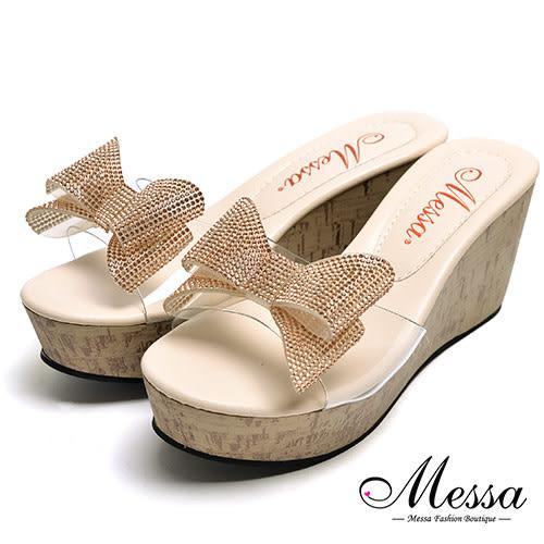 【Messa米莎專櫃女鞋】MIT閃亮蝴蝶結厚底涼拖鞋-粉紅色