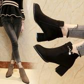 粗跟短靴2019新款秋冬季加絨女百搭韓版尖頭高跟鞋水鑽靴子及裸靴