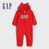 Gap嬰兒 Logo熊耳連帽一體式包屁衣 652233-紅色