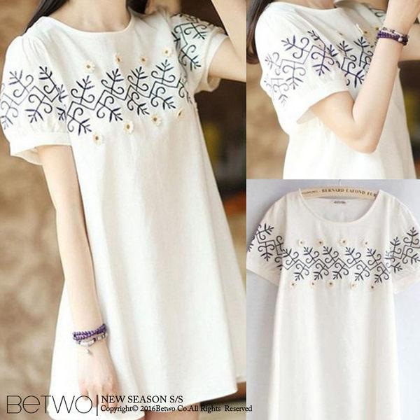 刺繡花朵造型短袖洋裝