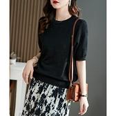 針織衫 針織上衣女編織感重工提花 微透桑蠶絲綿萊賽爾圓領針織短袖TD303A快時尚