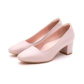 MICHELLE PARK 復古女伶 羊皮方頭寬鞋口金屬鑲嵌粗跟鞋-淺紫色