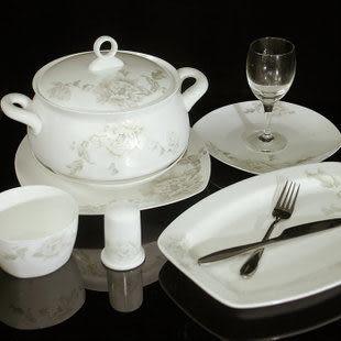56件瓷套裝碗盤子玉牡丹/禮品餐具