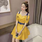 2018夏季新款韓版性感一字領短袖純色女顯瘦收腰大擺洋裝 DN10923【123休閒館】