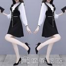 時尚套裝 早春新款時尚顯瘦打底蝴蝶結襯衫 背心洋裝兩件套套裝女 16【快速出貨】