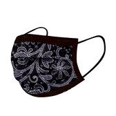 文賀生技醫用口罩 (未滅菌)-三層醫療口罩-酷玩潮流系列-黑色花語 30入/盒