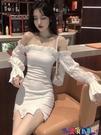 一字領連身裙 2021法式一字肩鎖骨包臀連身裙女夏季緊身白色顯瘦裙子氣質a字裙寶貝計畫 上新