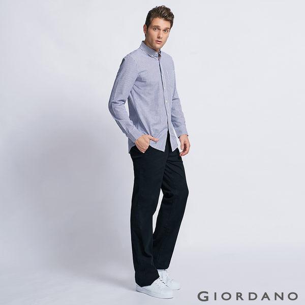 【GIORDANO】男裝中腰基本款彈性直筒休閒褲-09經典黑