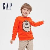 Gap男幼童 趣味圖案圓領長袖上衣 619599-橘色