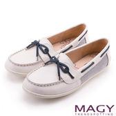 MAGY 經典復古 雙材質拼接柔軟牛皮透氣帆船鞋-白色