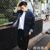 牛仔襯衫日系衣青年衫男潮流立領長袖男潮寬鬆休閒襯衣外套 時尚潮流