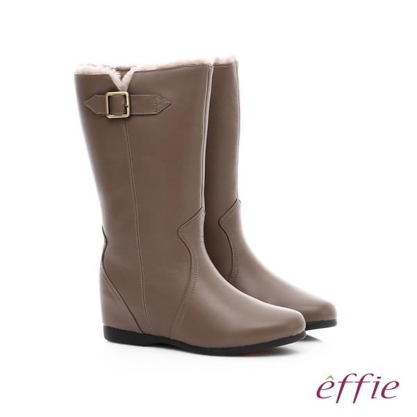 effie 心機美型 真皮絨毛內增高奈米長靴  卡其
