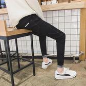 黑色牛仔褲男九分彈力修身小腳長褲韓版潮流學生秋季百搭青年褲子