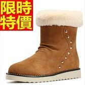 雪靴-鉚釘真皮保暖冬季短筒女靴子3色64r45[巴黎精品]