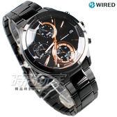 WIRED 聖誕限定 日系東京潮流 三眼計時碼錶 IP黑電鍍 黑x玫瑰金 AY8011X1 VR33-0AA0K