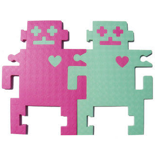 【新生活家】機器人雙色地墊組合-桃紅綠12入