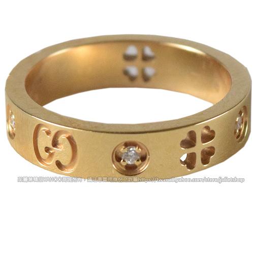 茱麗葉精品 二手精品 【9.5成新】 GUCCI 經典雙G LOGO鑲鑽純K金戒指 1.6cm