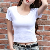 露臍上衣白色短款t恤女夏季短袖緊身ins潮修身高腰漏肚臍短裝純棉 快速出貨