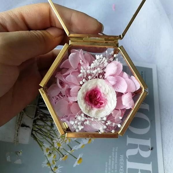 永生花DIY玻璃花房材料包,求婚戒子盒,附製作說明書