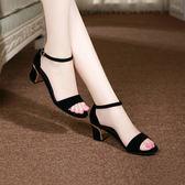 新款粗跟涼鞋女夏季百搭大碼高跟鞋一字扣帶中跟露趾韓版女鞋 9號潮人館