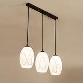 現代簡約led圓形餐廳吊燈三頭 北歐田園宜家創意吧台餐桌飯廳燈具XW免運