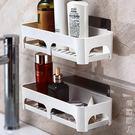 雙慶浴室吸盤置物架收納架塑料廚房衛生間置物架壁掛廁所瀝水架子  街頭潮人