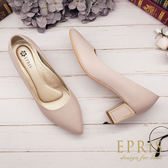 現貨 MIT小中大尺碼尖頭鞋推薦 點點紋方跟鞋 21.5-26 EPRIS艾佩絲-透膚裸