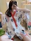 和服睡衣 日式和服睡衣女夏季可愛日系純棉ins風短袖兩件套家居服套裝夏天 芊墨左岸