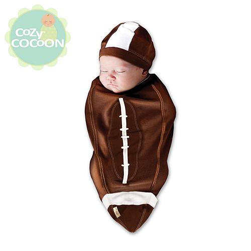 [Cozy Cocoon]美國原裝 純棉嬰兒造型包巾-橄欖球寶貝 C03