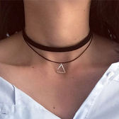 幾何鏤空三角形雙層頸鏈/鎖骨鏈 5款【VM47027】
