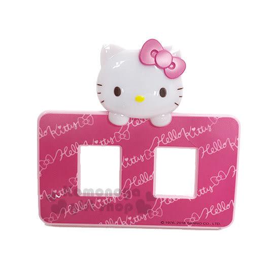 〔小禮堂〕Hello Kitty LED造型橫式插座開關裝飾板《粉.大臉》雙孔.觸摸感應發光 8021044-50002