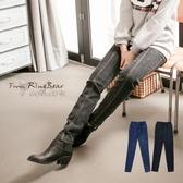 加大尺碼--壓線鬆緊褲頭拉長腿型筆直度雪花窄管褲/鉛筆褲(黑.藍2L-5L)-P99眼圈熊中大尺碼