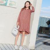 漂亮小媽咪 韓系洋裝 【D1962】 翻領 格紋 長袖洋裝 格子紋 寬鬆 孕婦裝 荷葉裙 魚尾裙