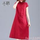 棉麻洋裝 夏季新款短袖民族風棉麻裙2021年女裝中長款文藝百搭亞麻連身裙子 新品