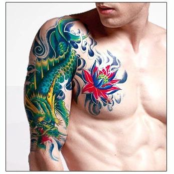 大 花臂 紋身貼 紋身貼紙 刺青貼紙 紋身貼 貼紙 龍纹 日韓系 大號 日韓 水轉印紋身貼紙 8049