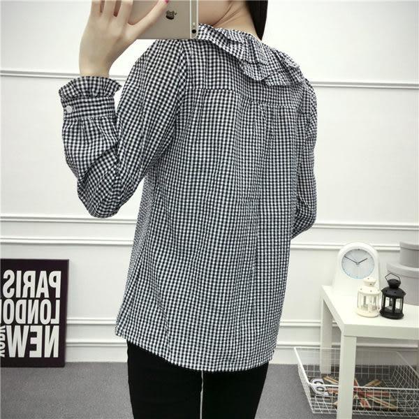 領格子泡泡荷葉邊長袖襯衫 (T-117)均碼