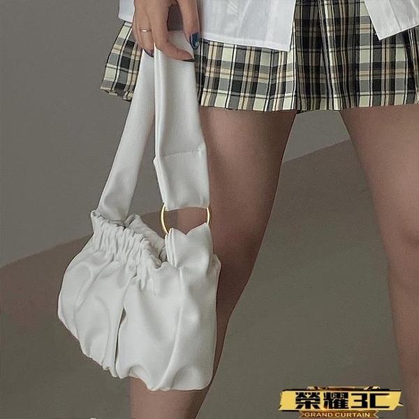 手提包 云朵包包女2021春夏新款褶皺包通勤百搭腋下包側背手提包【99免運】