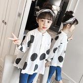 女童襯衫白色圓點襯衣2018春裝新款兒童休閒寬鬆長袖女孩純棉上衣 芥末原創
