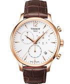 TISSOT 天梭 Tradition 復刻計時手錶-白x玫瑰金框/42mm T0636173603700